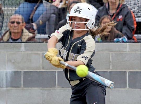 Archer City's Vanessa Rater hits a single against Haskell Thursday, May 9, 2019, in Graford.