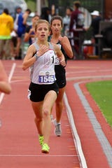 Holliday's Hannah Spears competes in the 3A girls 1,600 meter run at the UIL state track meet Friday, May 10, 2019, in Austin. She finished in third with a time of 11.31.93.