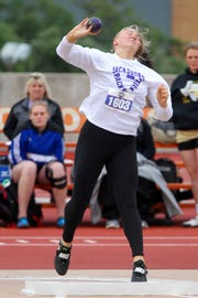 Jacksboro's Baylee Thompson throws in the 3A girls discus UIL state track meet Friday, May 10, 2019, in Austin.