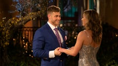 """THE BACHELORETTE - """"1501"""" - It's a tractor...It's a plane...It's the self-appointed king of the jungle! Hannah's search for fierce love is matched with fierce competition as one hopeful bachelor sets a high bar by jumping the fence, while another pops out from the limo, in true beast fashion. At the end of the day, whether he is a golf pro looking to be Hannah's hole-in-one, a Box King seeking a woman who checks all his boxes, or a man with a custom-made pizza delivery, everyone wants a piece of Hannah's heart on the highly anticipated 15th season of """"The Bachelorette,"""" premiering MONDAY, MAY 13 (8:00-10:01 p.m. EDT), on The ABC Television Network. (ABC/John Fleenor) LUKE P., HANNAH BROWN"""