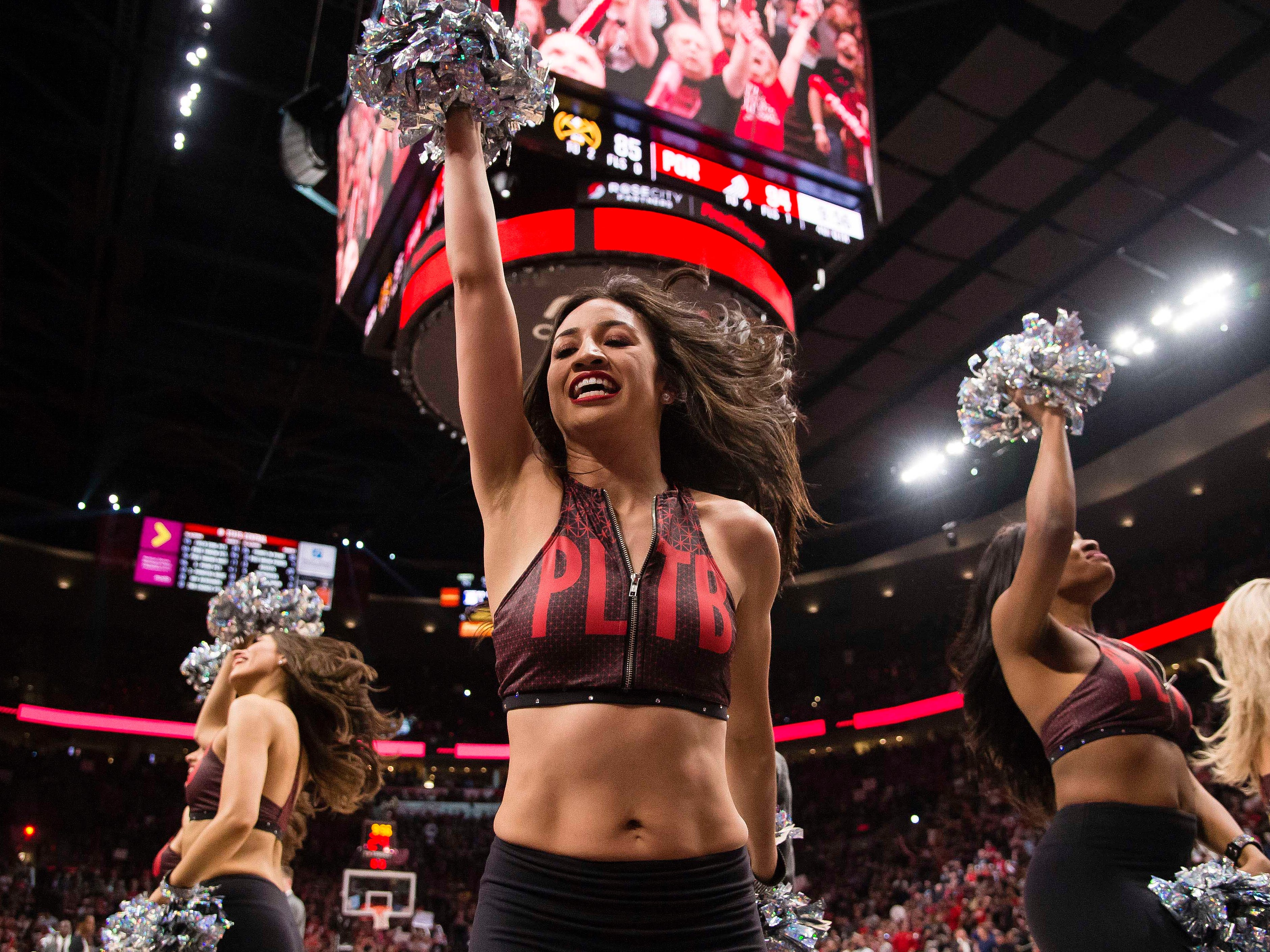 May 9: The Blazers cheer team fires up the crowd during Game 6 against the nuggets in Portland.