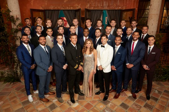 Hannah Brown with her potential suitors at the beginning of latest season of The Bachelorette.