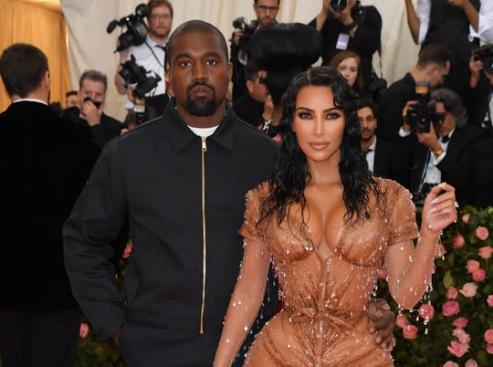 Kim Kardashian and Kanye West arrive for the 2019 Met Gala at the Metropolitan Museum of Art on May 6, 2019, in New York.