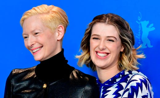 """Tilda Swinton, left, and her daughter Honor Swinton Byrne during a photocall for the film """"The Souvenir"""" at the 69th Berlinale film festival on Feb. 12, 2019, in Berlin."""
