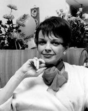 Judy Garland poses backstage at the Palace Theatre in New York on July 31, 1967.