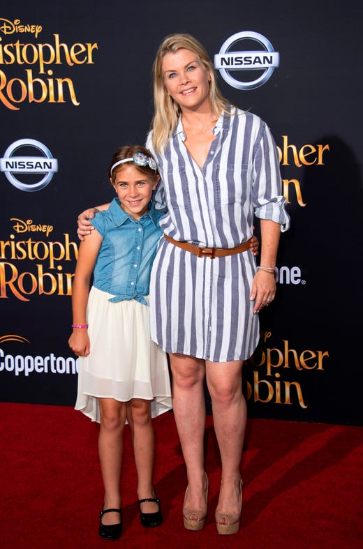 """Alison Sweeney and daughter Megan Sanov attend the world premiere of Disney's """"Christopher Robin"""" on July 30, 2018, in Burbank, Calif."""