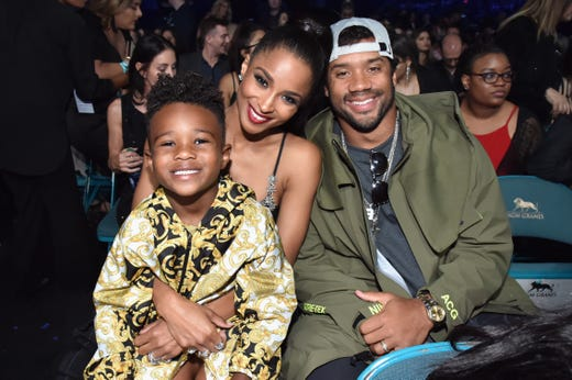 Future Zahir Wilburn, Ciara and Russell Wilson attend the 2019 Billboard Music Awards at MGM Grand Garden Arena on May 1, 2019, in Las Vegas.