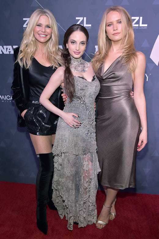 Christie Brinkley with daughters Alexa Ray Joel and Sailor Lee Brinkley-Cook attend the 2018 Footwear News Achievement Awards at IAC Headquarters on Dec. 4, 2018, in New York.