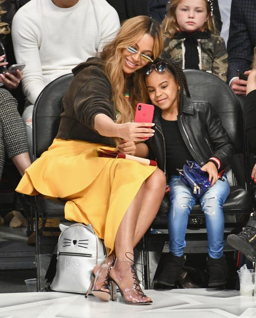 Beyonce and Blue Ivy Carter attend the NBA All-Star Game 2018 at Staples Center on Feb. 18, 2018, in Los Angeles.
