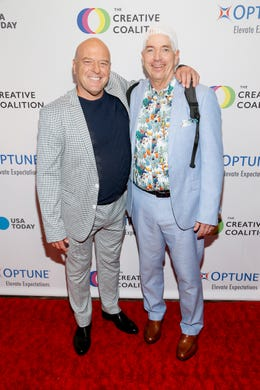 WASHINGTON, DC - MAY 09: (L-R) Actor Dean Norris and Optune Patient Ambassador Brian Biggs at the Creative Coalition's 2019 #RightToBearArts Gala Presented By Optune on May 09, 2019 in Washington, D.C. (Photo by Paul Morigi/Getty Images The Creative Coalition) ORG XMIT: 775330972 ORIG FILE ID: 1148120181
