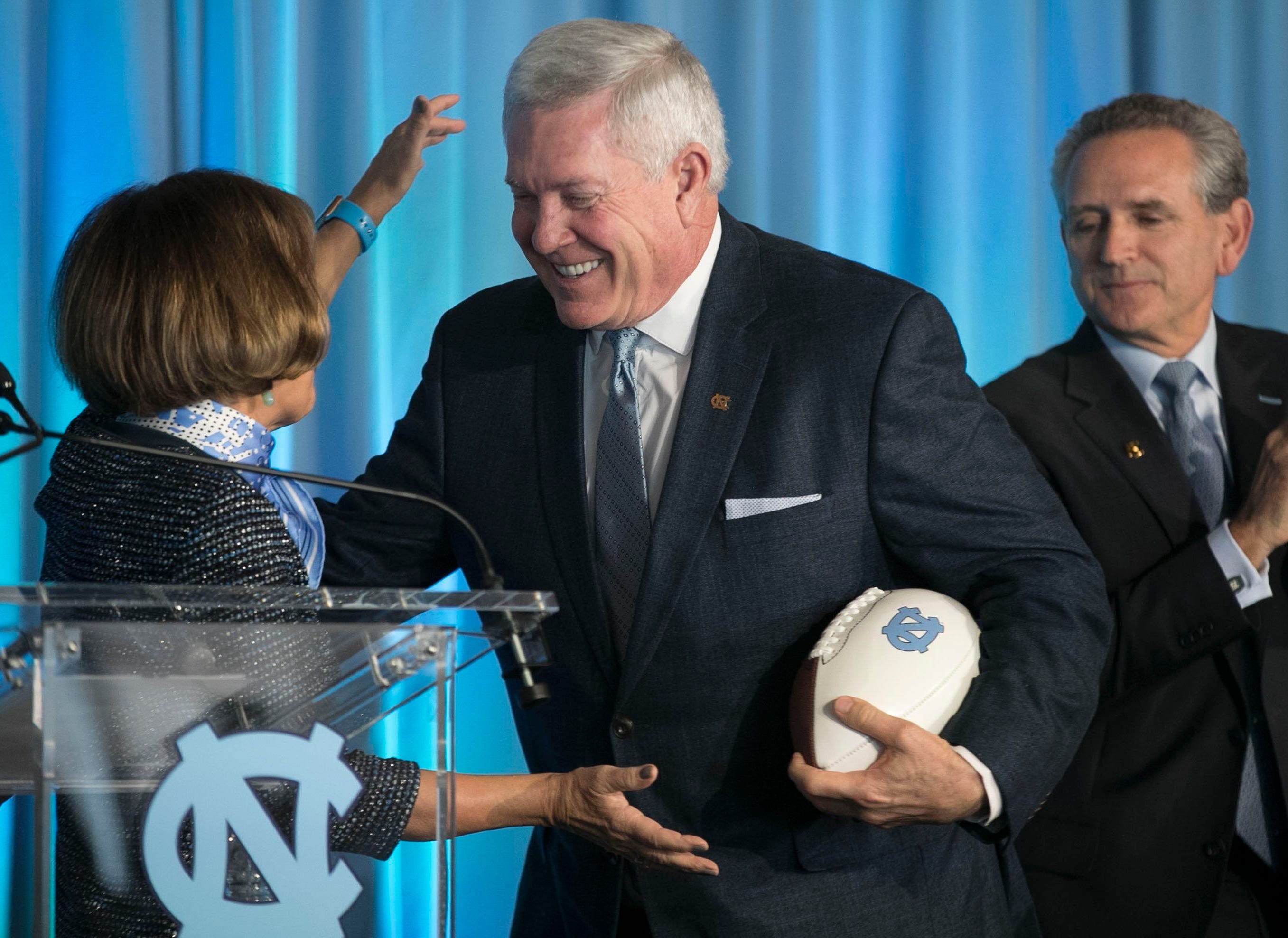 Mack Brown was introduced as North Carolina's football coach on Nov. 27, 2018.