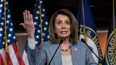 Speaker of the House Nancy Pelosi, D-Calif., meets with reporters May 9, 2019, the day after the Democrat-controlled House Judiciary Committee voted to hold Attorney General William Barr in contempt of Congress.