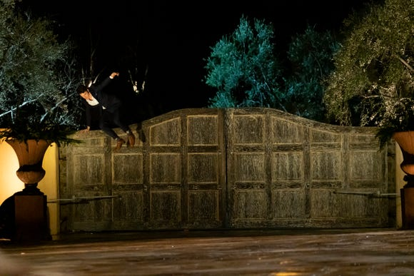 Connor S. channels his inner Colton Underwood and jumps the fence of the Bachelor mansion.