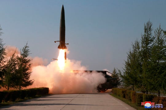 A missile is launched from the west coast of North Korea on May 9, 2019.