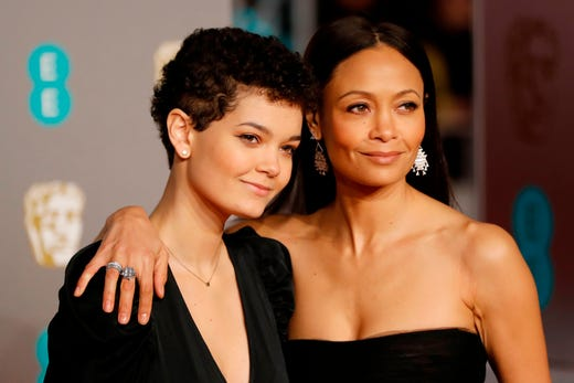 Thandie Newton, right, and daughter Ripley Parker on the red carpet as they arrive at the BAFTA British Academy Film Awards at the Royal Albert Hall in London on Feb. 10, 2019.