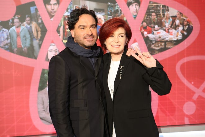 """Johnny Galecki, with Sharon Osbourne, visits """"The Talk"""" on May 9, 2019."""