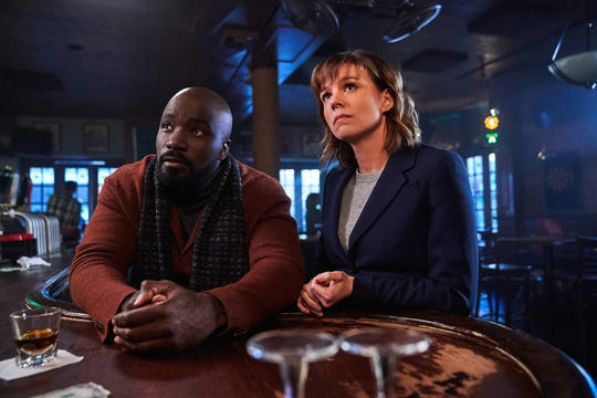 """Evil,"" a drama series picked up by CBS for the 2019-20 TV season, stars Mike Colter, left, and Katja Herbers."