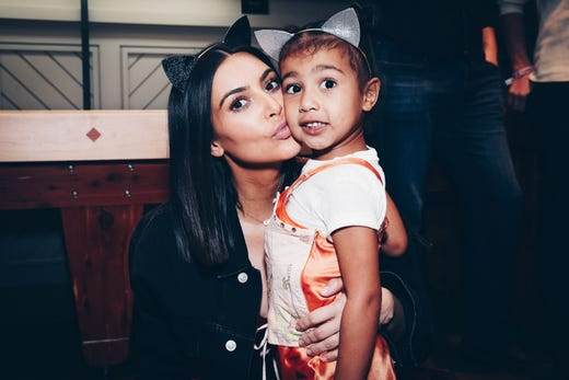 Kim Kardashian and daughter, North West at a private showing of the Ariana Grande Dangerous Woman Show at the Forum Club in Inglewood, Calif. on March 31, 2017.