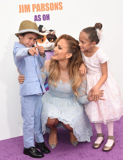 "Jennifer Lopez, son Maximilian David Muniz  and daughter Emme Maribel Muniz arrive at Twentieth Century Fox and Dreamworks Animation's ""Home"" premiere at Regency Village Theatre on March 22, 2015, in Westwood, Calif."