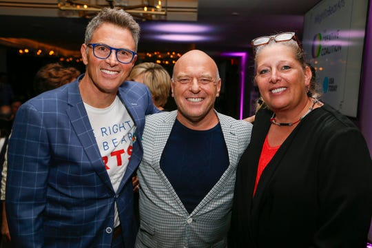Actor Tim Daly, Actor Dean Norris and National Endowment of the Arts Acting Chairman Mary Anne Carter at the Creative Coalition's 2019 #RightToBearArts Gala.