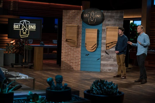 """Harrison Broadhurst and Chris Rannefors, entrepreneurs from Lexington, Kentucky, pitch their line of designer bat houses for an effective natural solution to pest control on the 10th season finale of ABC's """"Shark Tank."""""""