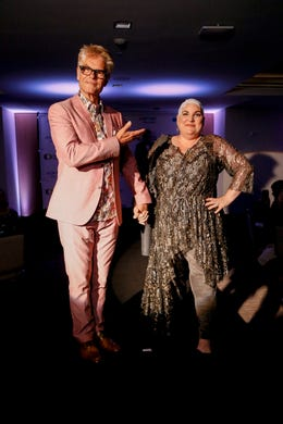 WASHINGTON, DC - MAY 09: Actor Harry Hamlin and Optune Patient Ambassador Lisa Bruce walk the runway during the Creative Coalition's 2019 #RightToBearArts Gala Presented By Optune on May 09, 2019 in Washington, D.C. (Photo by Paul Morigi/Getty Images The Creative Coalition) ORG XMIT: 775330972 ORIG FILE ID: 1148120262