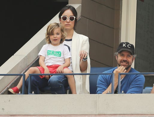 Olivia Wilde and Jason Sudeikis look on with son Otis during the men's quarterfinal match between Pablo Carreno Busta of Spain and Diego Schwartzman of Argentina on day nine of the 2017 U.S. Open at the USTA Billie Jean King National Tennis Center on Sept. 5, 2017, in New York.