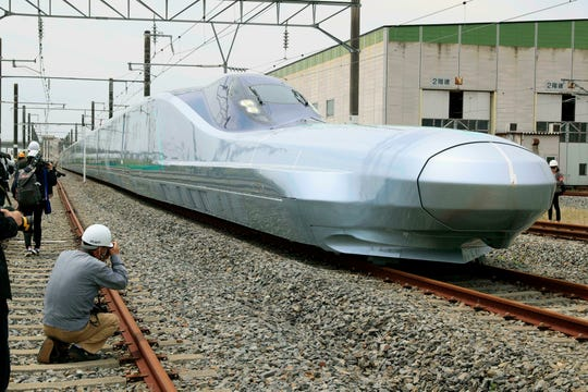 The recently completed ALFA-X testbed of East Japan Railway Co.'s next-generation bullet train is shown at a railway yard in Rif town, Miyagi Prefecture, northeastern Japan, on May 9, 2019.
