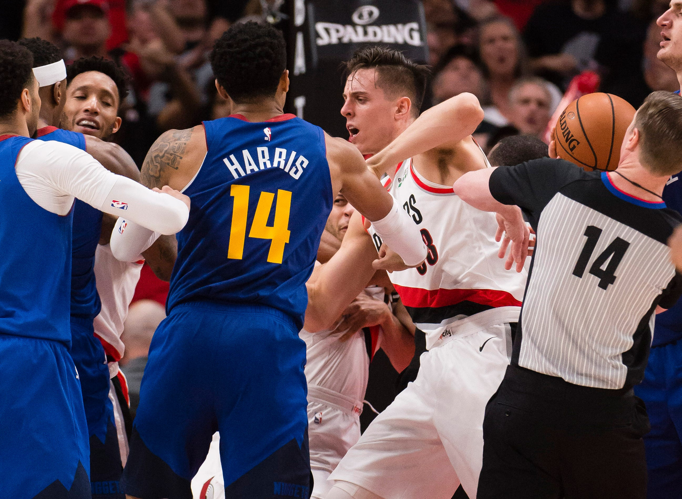May 9: Tempers flare late in Game 6 between the Blazers and Nuggets.
