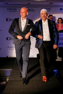 WASHINGTON, DC - MAY 09: Actor Anthony Carrigan and Optune Patient Ambassador Brian Biggs walk the runway during the Creative Coalition's 2019 #RightToBearArts Gala Presented By Optune on May 09, 2019 in Washington, D.C. (Photo by Paul Morigi/Getty Images The Creative Coalition) ORG XMIT: 775330972 ORIG FILE ID: 1148120268