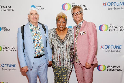 WASHINGTON, DC - MAY 09: (L-R) Optune Patient Ambassador Brian Biggs, Actress CCH Pounder and Actor Harry Hamlin at the Creative Coalition's 2019 #RightToBearArts Gala Presented By Optune on May 09, 2019 in Washington, D.C. (Photo by Paul Morigi/Getty Images The Creative Coalition) ORG XMIT: 775330972 ORIG FILE ID: 1148120162