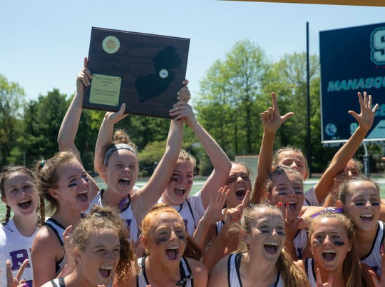 Rumson-Fair Haven celelbrates their newest Lacrosse title. Rumson-Fair Haven defeats Red Bank Catholic in Shore Conference Girls Lacrosse final in West Long Branch, NJ on May 11, 2019.