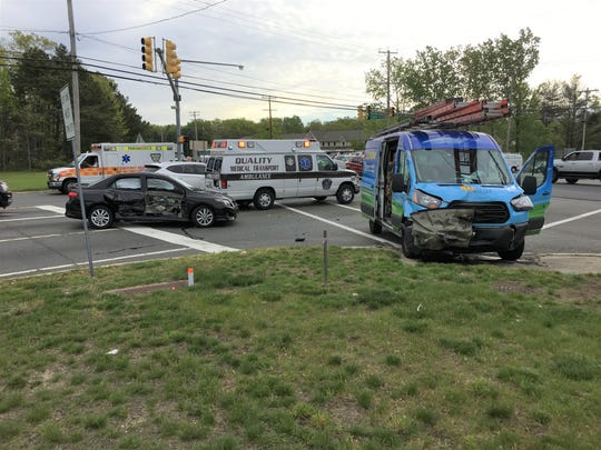Police respond to a three-vehicle accident on Rt. 70 in Manchester on May 10, 2019.