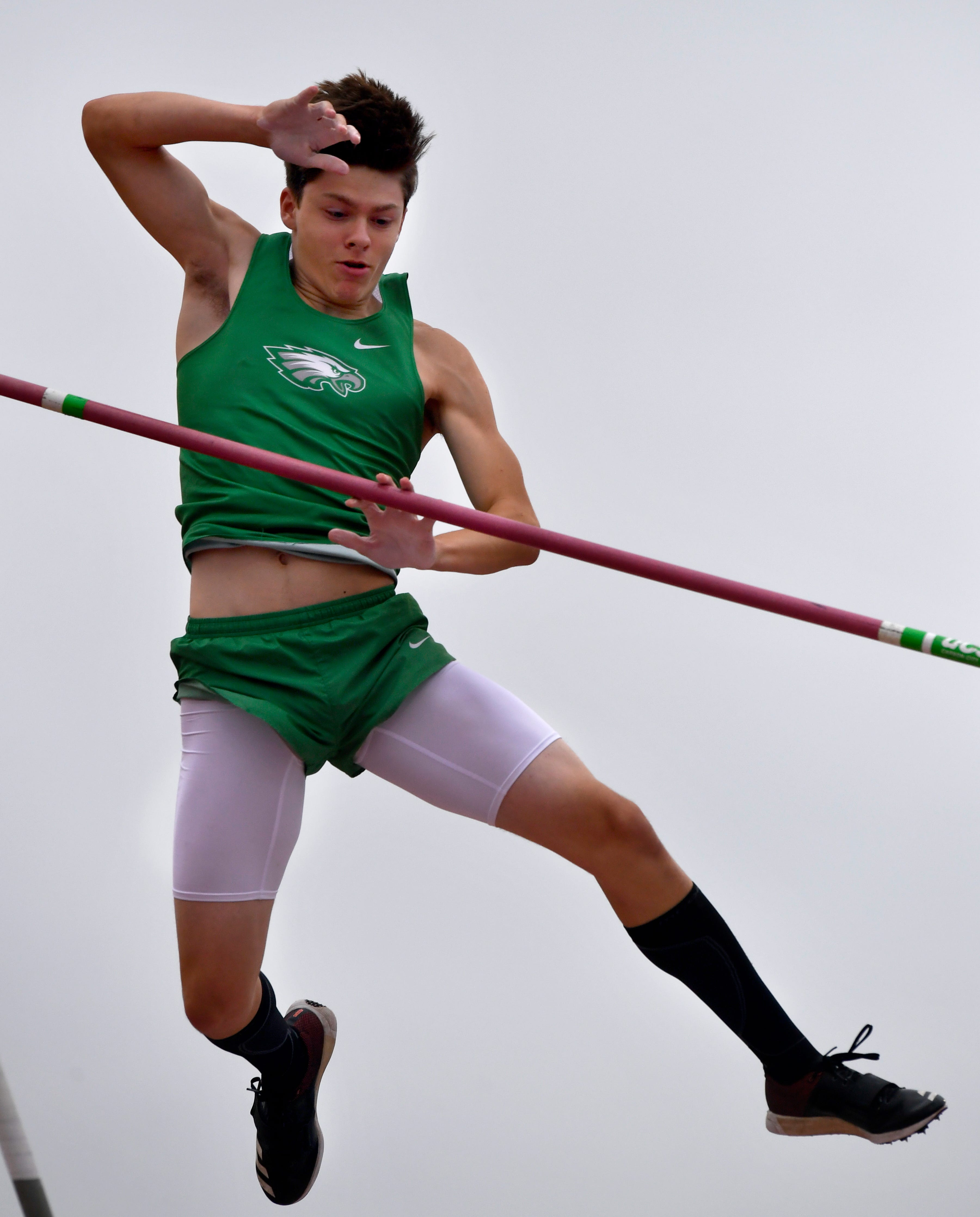 Woodsboro's Anthony Meacham tries to set a record after winning the Class 2A Boys Pole Vault at the UIL State Track & Field Championships in Austin Saturday May 11, 2019.