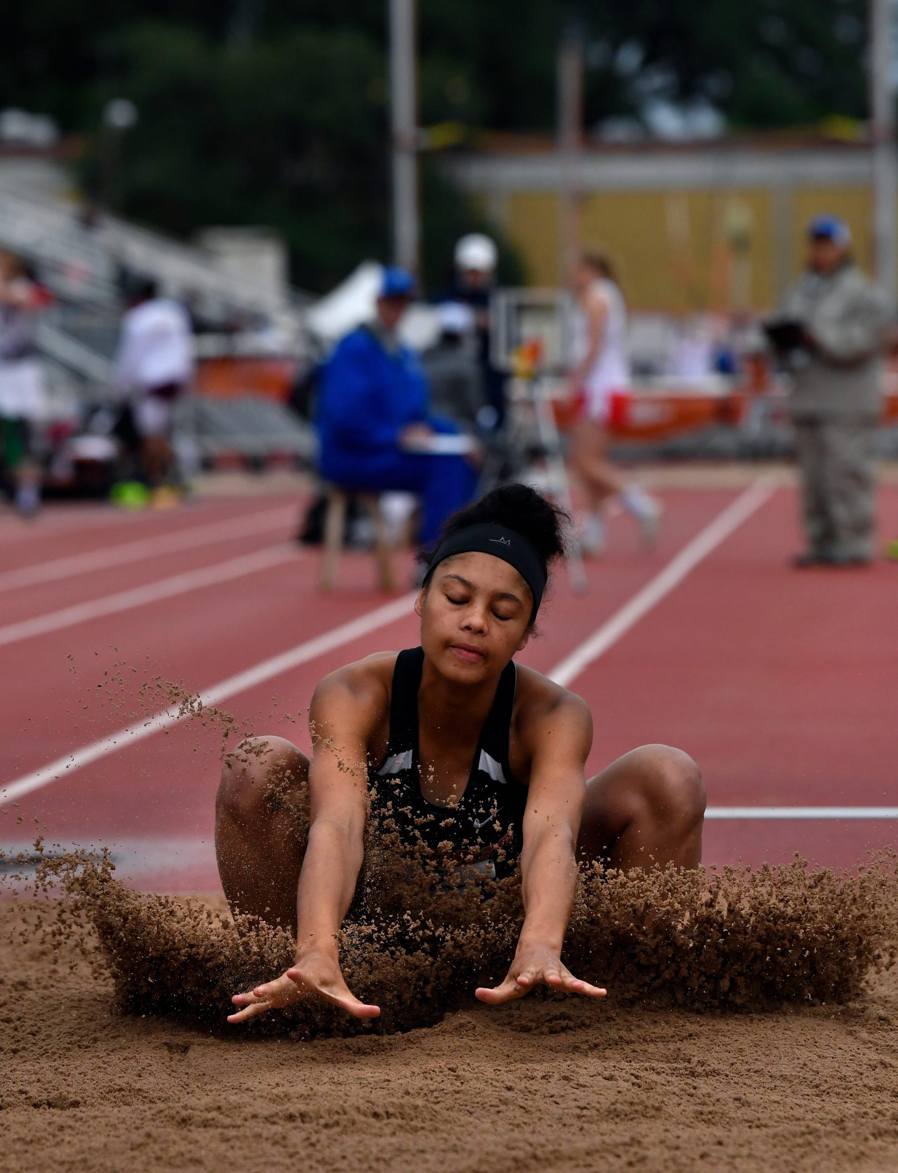 Refugio's Tracelyn Ross lands in the pit sand during the Class 2A Girls Long Jumpat the UIL State Track & Field Championships in Austin Saturday May 11, 2019.