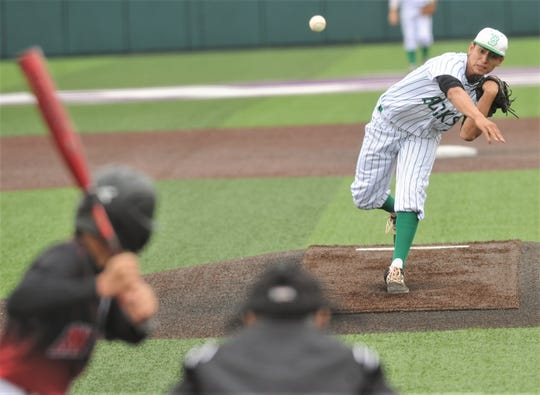 Breckenridge pitcher D'Andrey Silva throws a pitch in the fourth inning against Anson. Breckenridge beat the Tigers 12-2 in six innings in the opener of the Region I-3A second-round playoff series series Friday, May 10, 2019, at ACU's Crutcher Scott Field. The Bucks swept the series with a 13-1 win in five innings in Game 2 later that night.