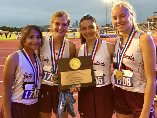 Lingleville's relay team of Samantha Rodriguez, from left, Nicole Koke, Selina Alvarado and Ilse Deboer pose with the plaque from their first-place finish in the Class 1A girls 800 relay at the UIL state track and field meet Friday, May 10, 2019, at the University of Texas' Mike A. Myers Stadium in Austin.