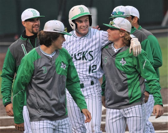 Breckenridge's Owen Woodward (12) celebrates with his teammates after ending Game 1 with a three-run home run in the sixth inning against Anson. The Buckaroos won the game 12-2 in six innings Friday, May 10, 2019, at ACU's Crutcher Scott Field. They swept the Region I-3A second-round series with a 13-1 victory in five innings in Game 2 later that night.