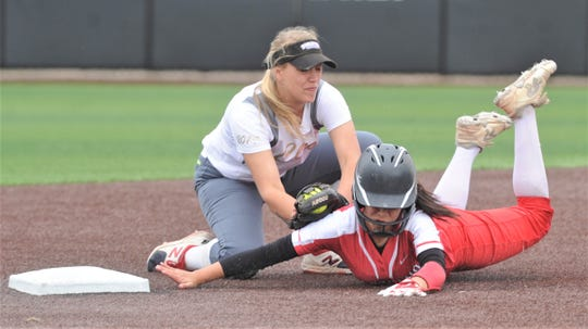 Clyde shortstop Peyton Lee, left, tags out Eastland's Jaeley May, who was trying steal second after getting a leadoff walk in the third inning. Clyde led 2-1 at the time. Clyde beat the Lady Mavs 5-2 on Saturday, May 11, 2019, to sweep the best-of-three Region I-3A quarterfinal playoff series at ACU's Poly Wells Field.