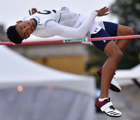 Stephenville's Kyle Lindsey clears the bar on his way to winning the Class 4A Boys High Jump at the UIL State Track & Field Championships in Austin Saturday May 11, 2019.
