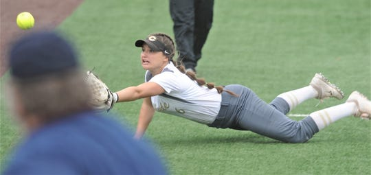 Clyde third baseman Channing Siewert tries to make a diving catch on Eastland hitter Jaeley May's foul ball in the fifth inning. Clyde beat the Lady Mavs 5-2 on Saturday, May 11, 2019, to sweep the best-of-three Region I-3A quarterfinal playoff series at ACU's Poly Wells Field.