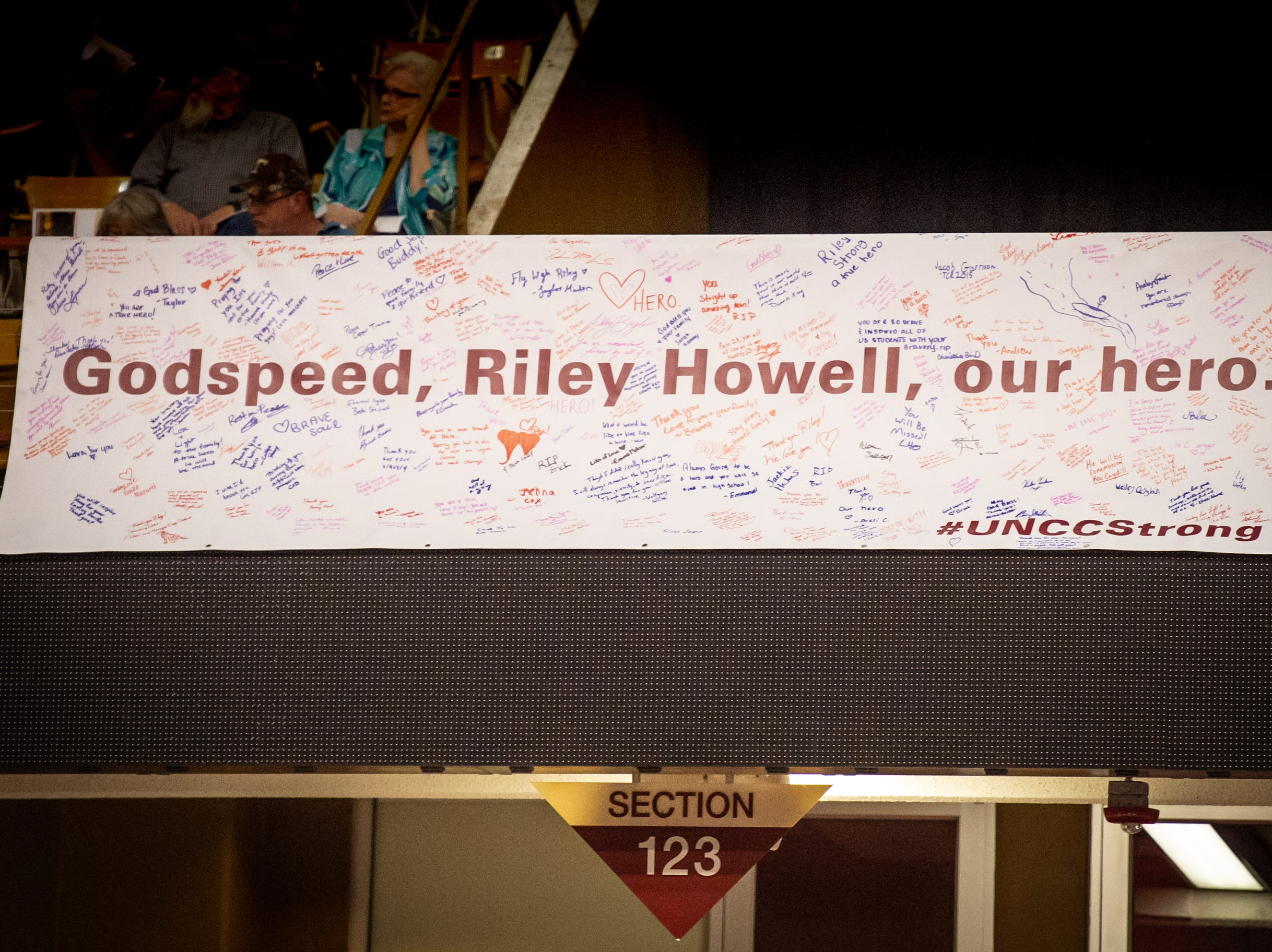 Former student Riley Howell, who was killed by a gunman April 30 in a UNC Charlotte classroom, was honored.