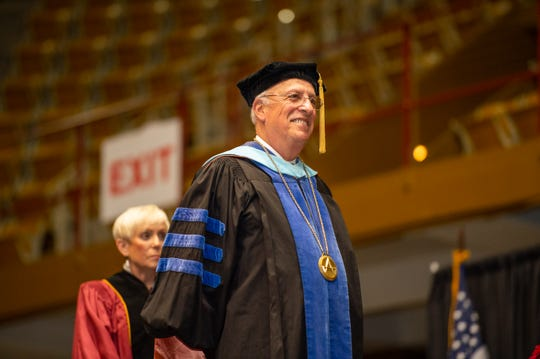 President Dennis King at Asheville-Buncombe Technical Community College's May 11, 2019, graduation ceremony.
