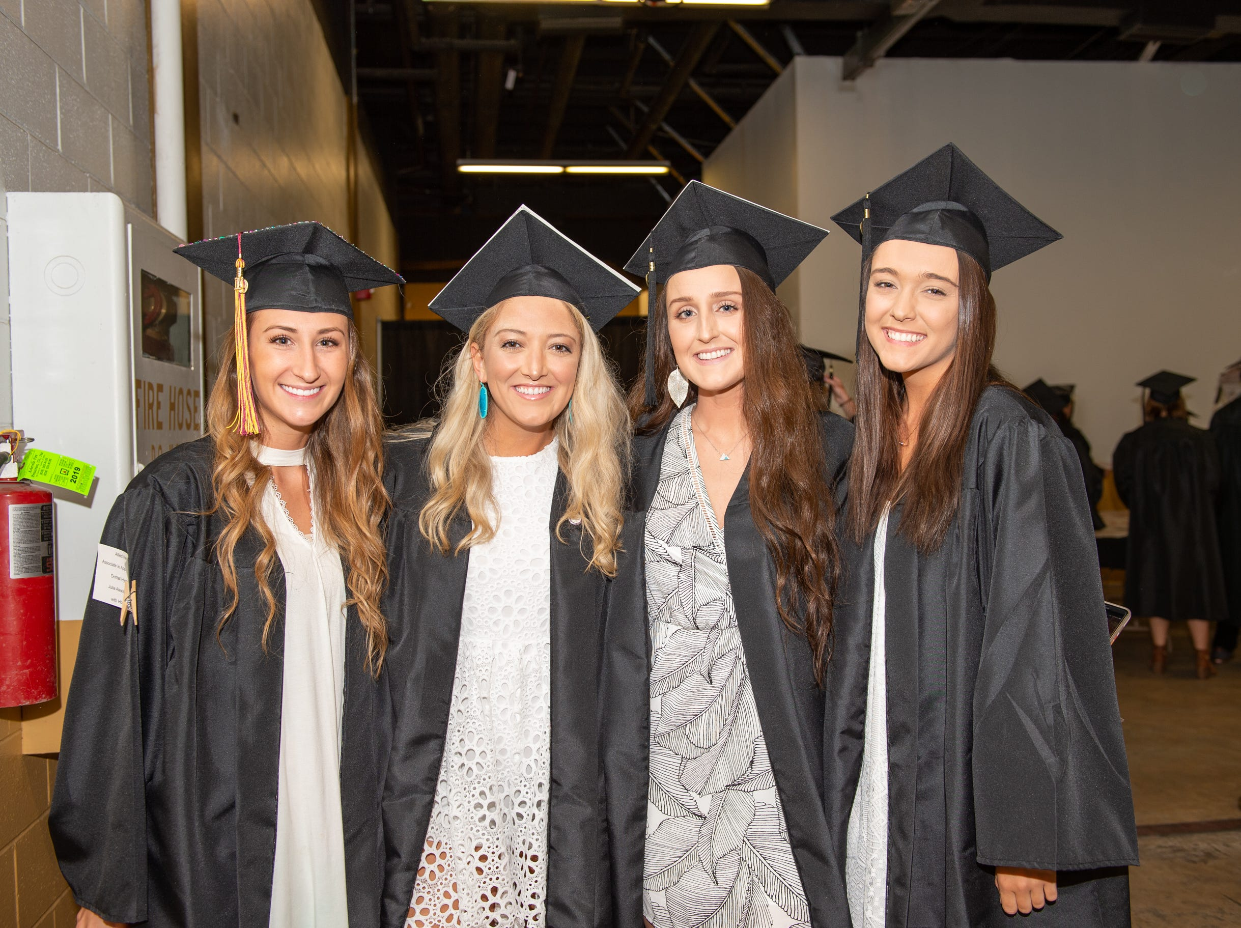 Lexi Aiken, Alyssa Brown, Brooke Walker, and Emily Morgan looking forward to graduating from A-B Tech on May 11, 2019.