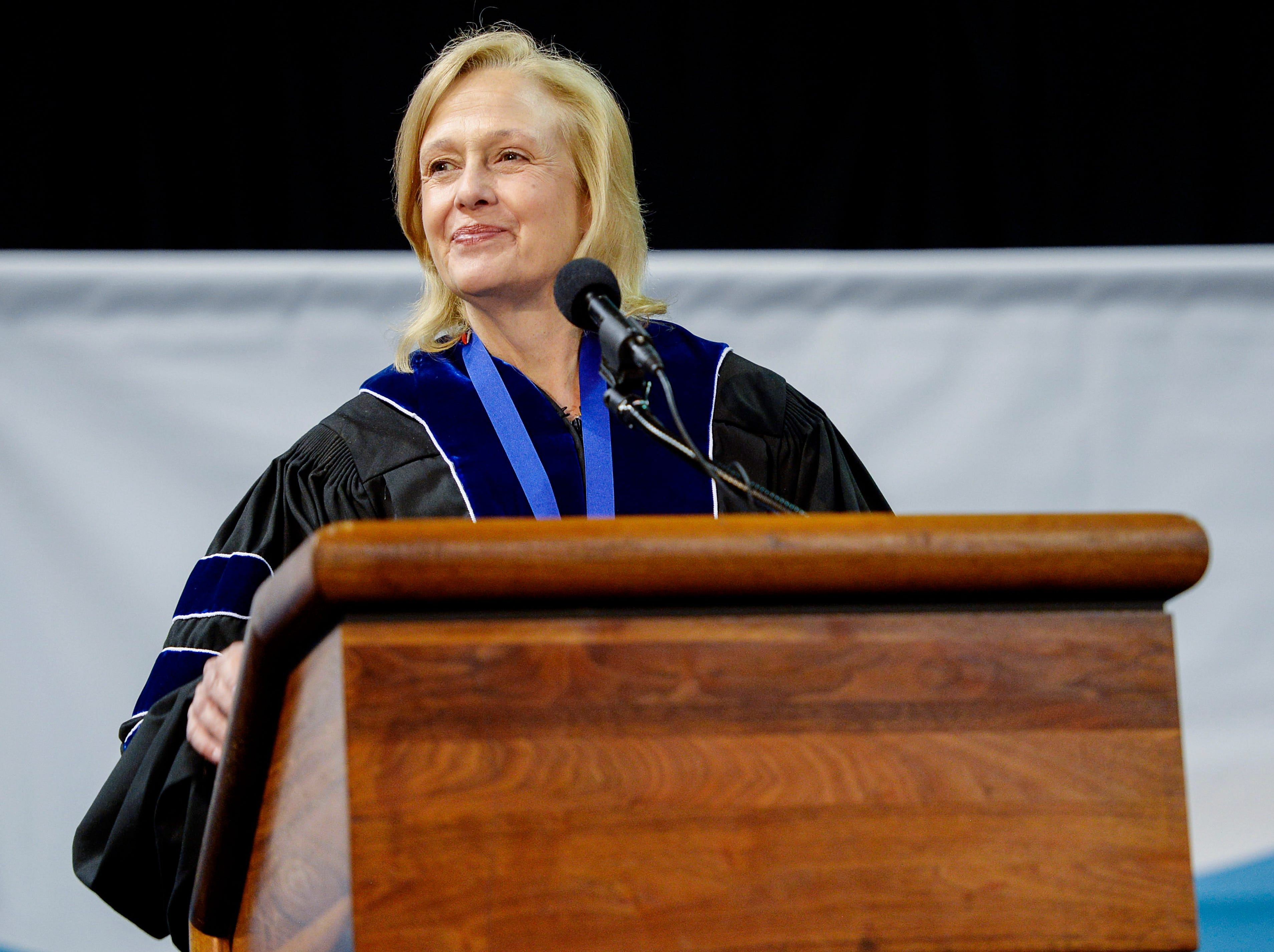 Paula Kerger, president and CEO of PBS, was the speaker at the UNCA commencement ceremony May 11, 2019.