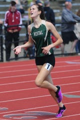 Simone Davey from Vestal took the win in the 1,500 at the Parkhurst Invitational at U-E High School.