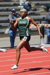 Tia Jones won both the 100 and 200 meter events for Vestal at the Parkhurst Invitational at U-E High School.
