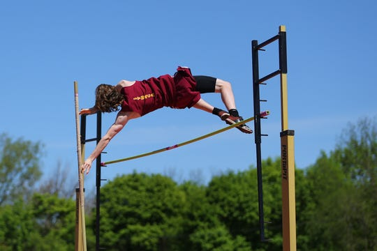 Ember Dengler from Ithaca won the pole vault at the Parkhurst Invitational at U-E High School.