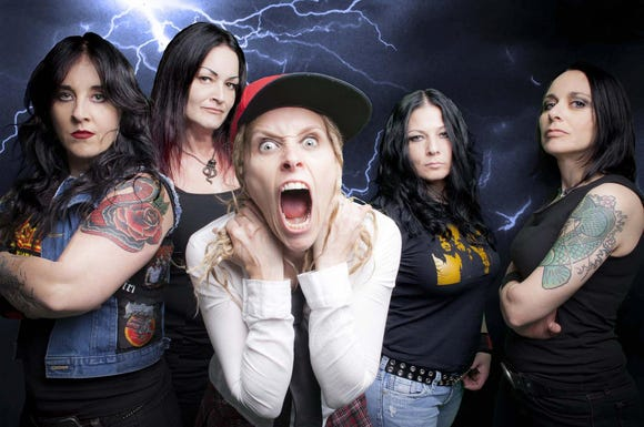 "Hell's Belles — from left, Amber Saxon, Laura D, Adrian ""Angus"" Conner, Mandy Reed and Lisa Brisbois — play their all-female AC/DC tribute May 17 at The Point Casino in Kingston."