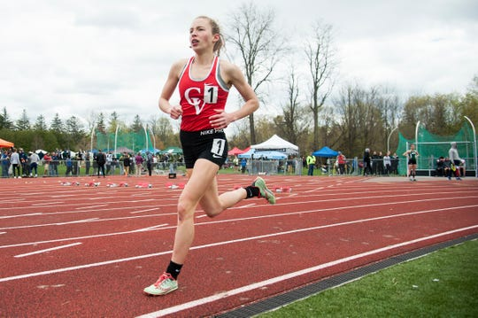 CVU's Ella Whitman competes in the 1500m race during the Burlington Invitational high school track and field meet at Buck Hard Field on Saturday May 11, 2019 in Burlington, Vermont.